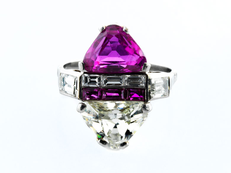 Art déco-Rubin-Diamantring