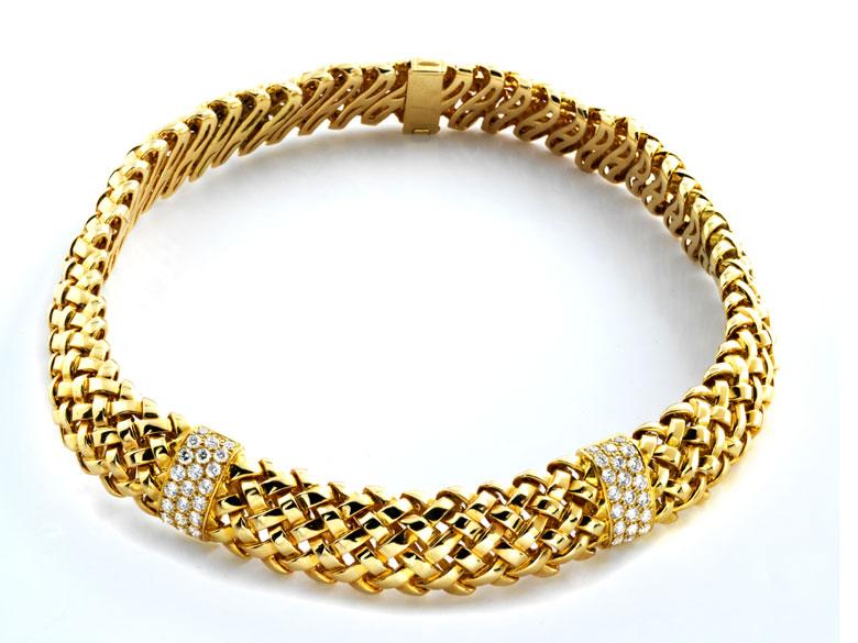 """Gold-Brillantcollier """"Vannerie"""" von Tiffany"""
