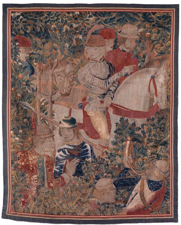 Außergewöhnlich seltener früher flämischer Bildteppich mit höfischer Jagddarstellung