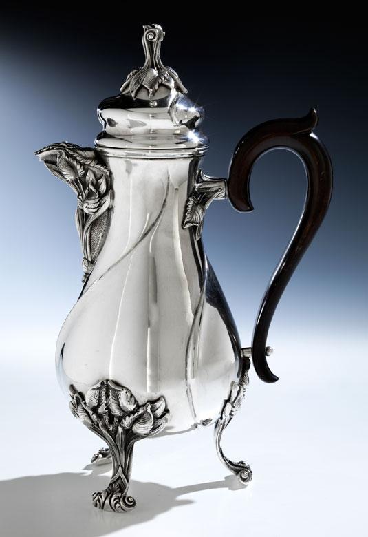 Große silberne Monser Kaffeekanne