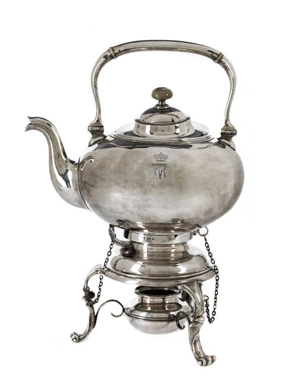 russischer tee und wasserkessel mit zugeh rigem rechaud