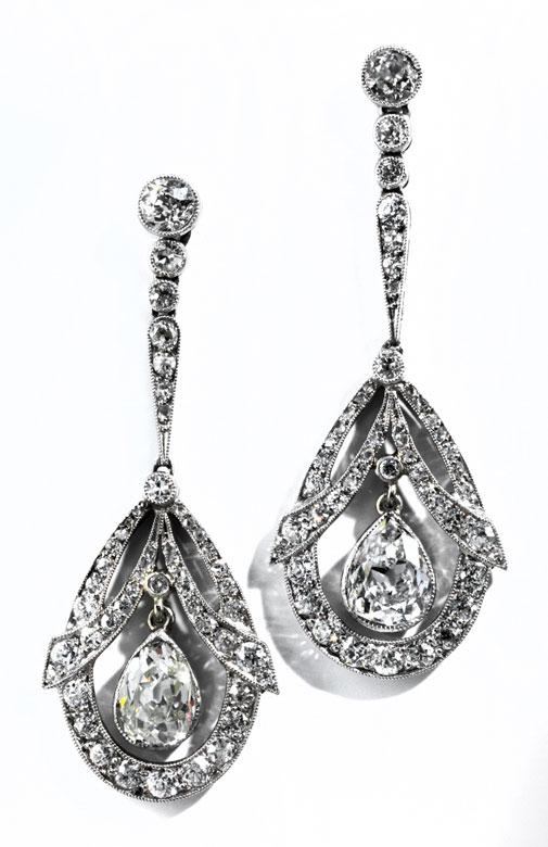 Art déco-Diamantohrhänger