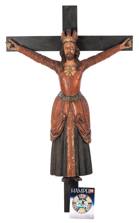 Äußerst seltene Schnitzfigur der Heiligen Wilgefortis oder Kümmernis