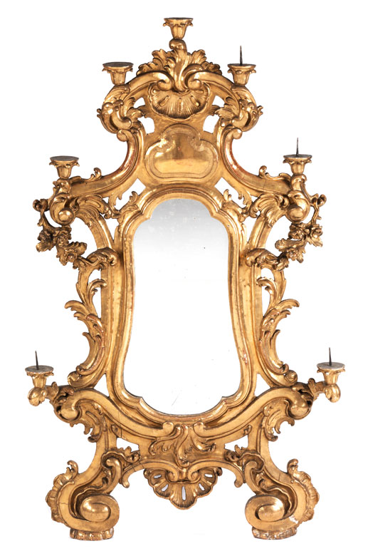 Großer Barockspiegel mit Leuchterarmen