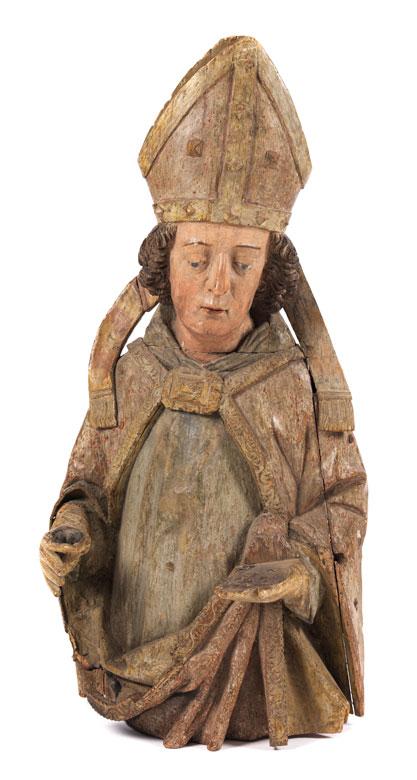 Halbfigur eines heiligen Bischofs