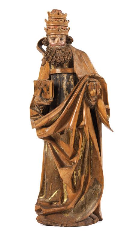 Gotische Schnitzfigur eines heiligen Papstes