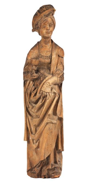 Spätgotische Schnitzfigur der Heiligen Barbara