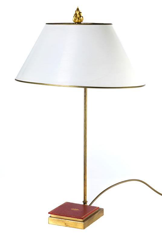 tischlampe mit ovalem schirm hampel kunstauktionen. Black Bedroom Furniture Sets. Home Design Ideas