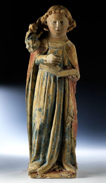 Gefasste Steinfigur eines Evangelisten