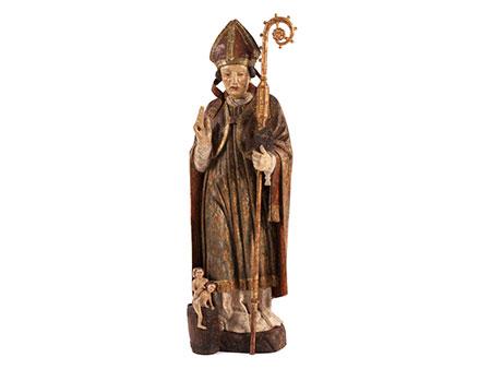 Schnitzfigur des Heiligen Nikolaus von Myra