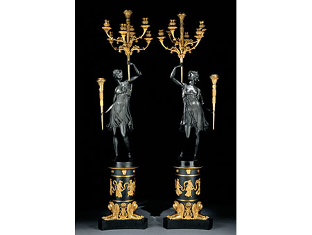 † Paar große Kandelaber im Empire-Stil