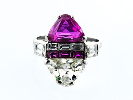 Detailabbildung:   Art déco-Rubin-Diamantring