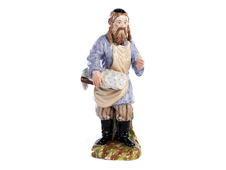 Russische Porzellanfigur eines alten Juden