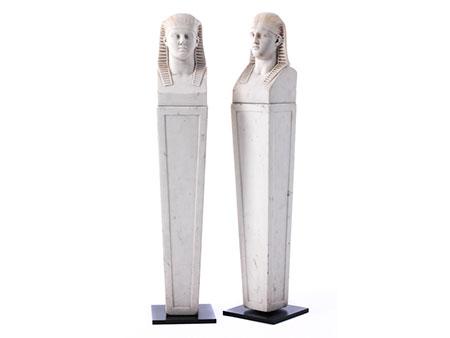 Paar neoklassizistische Hermen im ägyptischen Stil
