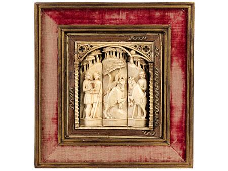 Detail images:   Reliefplatte der Embriachi-Werkstatt