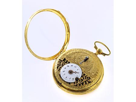 """Goldene Taschenuhr, bezeichnet """"Breguet"""""""