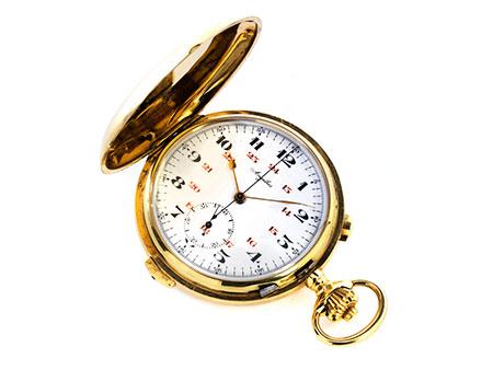 Savonnette-Taschenuhr in Gold mit Repetition und Stoppfunktion