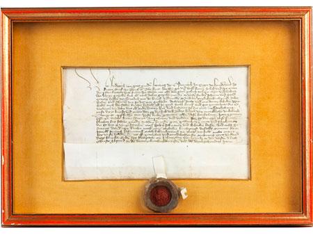 Pergamenturkunde mit rotem Lacksiegel von Herzog Friedrich