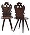 Detailabbildung:  Paar Brettstühle mit bekröntem Doppelkopfadler