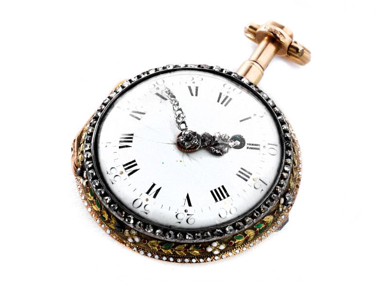 Feine goldene Stundenrepetitions-Spindeluhr mit Diamantbesatz