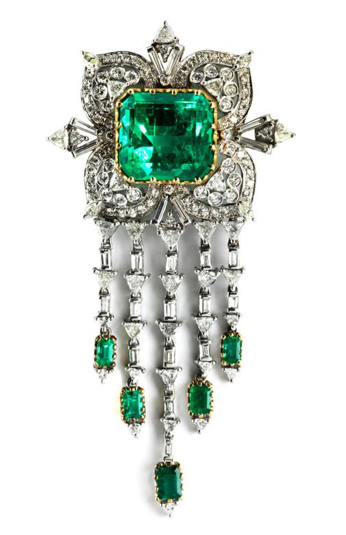 Smaragd-Diamantbrosche von Van Cleef & Arpels