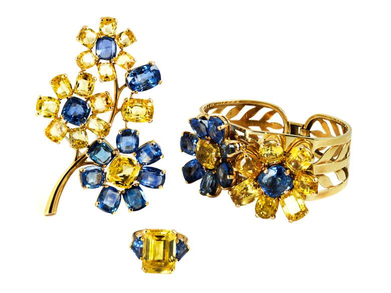 Prächtiges gelb-blaues Saphir-Set