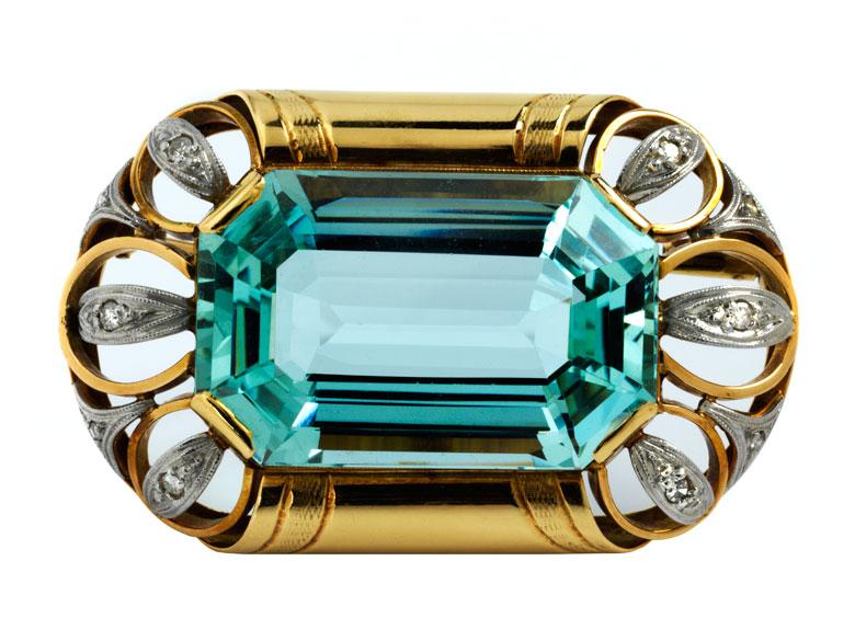 Aquamarin-Diamantbrosche von Boucheron