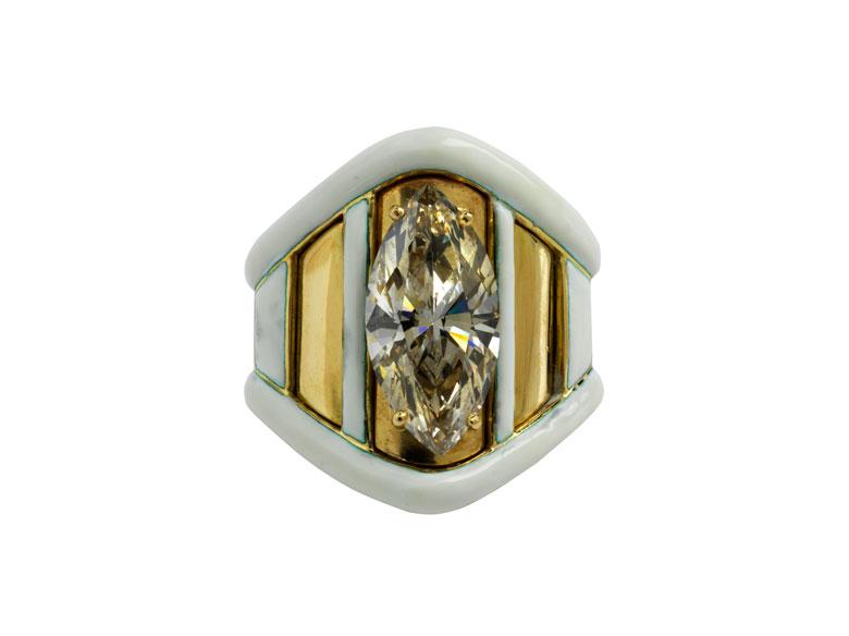 Navette-Diamant-Emailring von David Webb