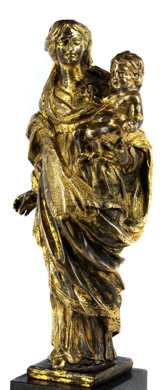 Vergoldete Bronzestatuette einer Madonna mit Kind