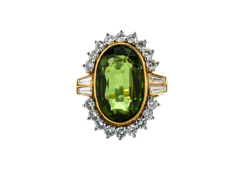 Peridot-Diamantring