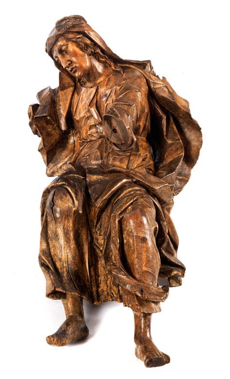 Lebensgroße Schnitzfigur einer sitzenden Heiligen