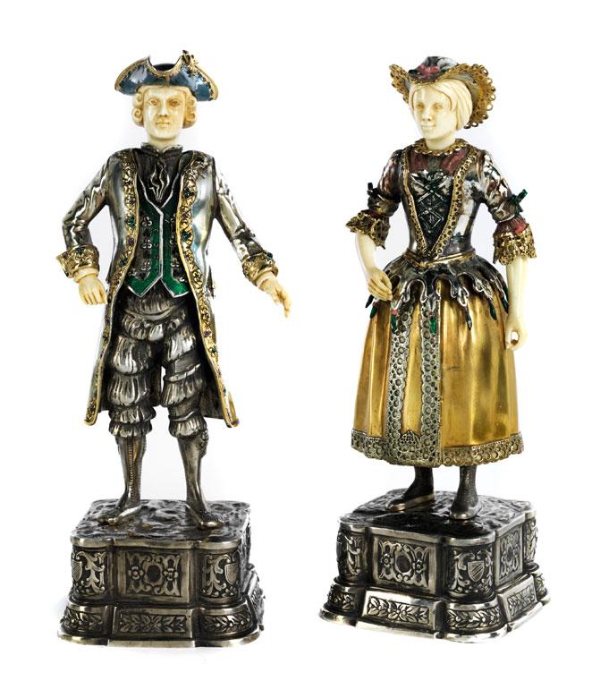 Paar Kombinations-Silberfiguren