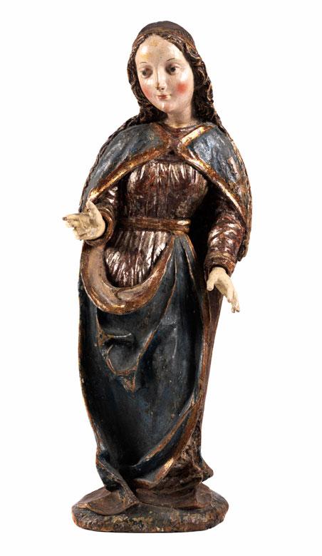Schnitzfigur einer weiblichen Heiligen