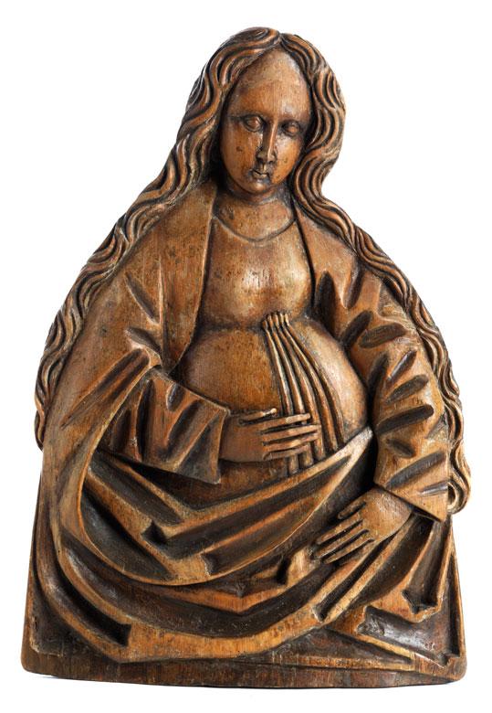 """Spätgotisches Schnitzrelief """"Maria mit gesegnetem Leib"""""""