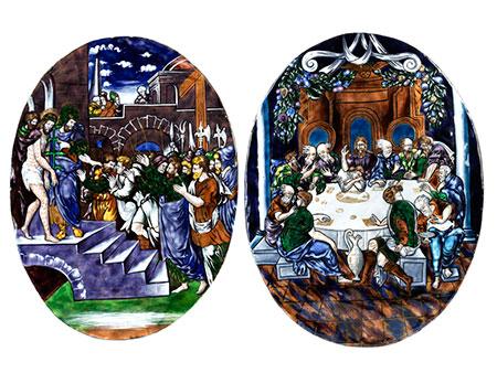 Paar ovale Limoges-Emailbildplatten
