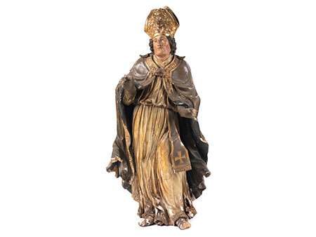 Schnitzfigur eines heiligen Bischofs