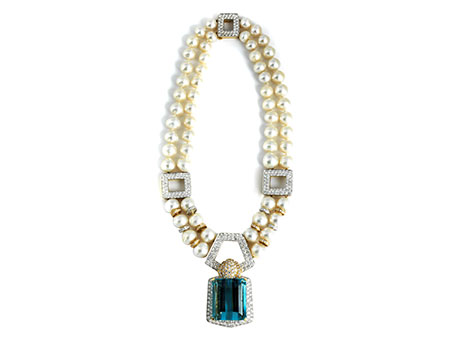 Aqua-Perl-Brillantcollier von David Webb