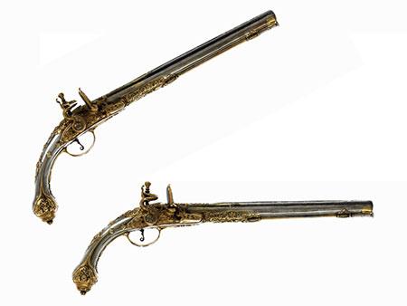 Paar historisch bedeutende Silberpistolen