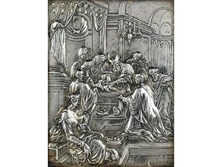 Silbernes Bildrelief mit Darstellung der Beschneidung Christi