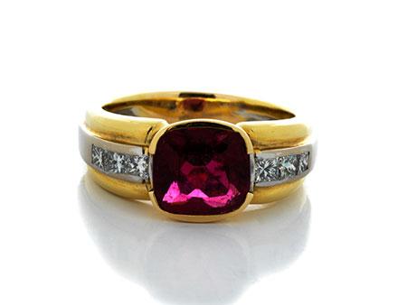 Detail images:  Rubellit-Diamantring