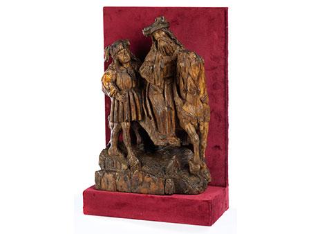 Schnitzfigurengruppe eines königlichen Reiters in Begleitung eines Knappen
