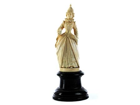 Elfenbeinschnitzfigur einer englischen Königin (Elisabeth I ?)