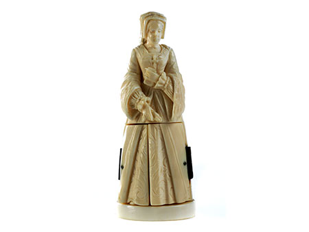 Kleine Elfenbeinfigur einer Dame mit Gebetsbuch und Brustkreuz