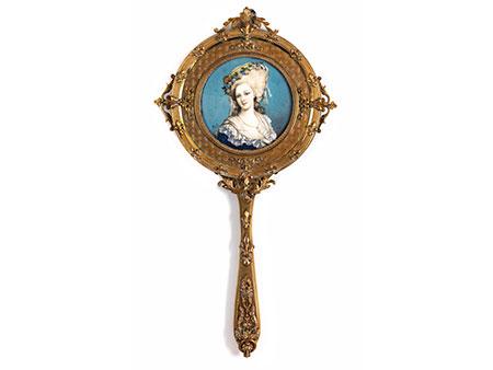 Vergoldeter Handspiegel mit Miniaturporträt