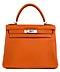"Detail images: Hermès Kelly Bag 28 cm ""Orange"""