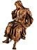 Detail images: Lebensgroße Schnitzfigur einer sitzenden Heiligen