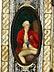 Detail images: Triptychon-Elfenbeinmalerei in reich dekoriertem Elfenbein-, Bein- und Perlmuttrahmen