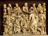 Detail images: Alabasterrelief mit Darstellung des Letzten Abendmahles