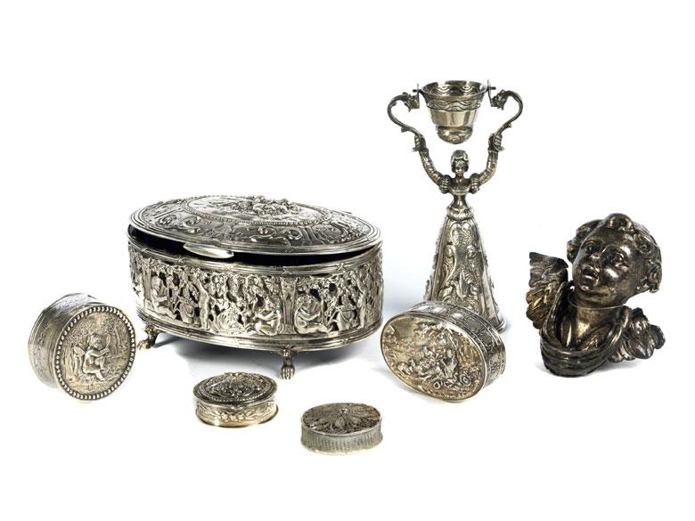Konvolut von sieben Silberobjekten