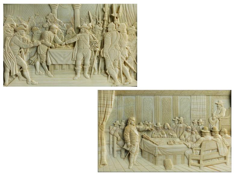 Paar Elfenbein-Reliefbilder